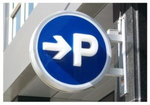 parking directional blade sign